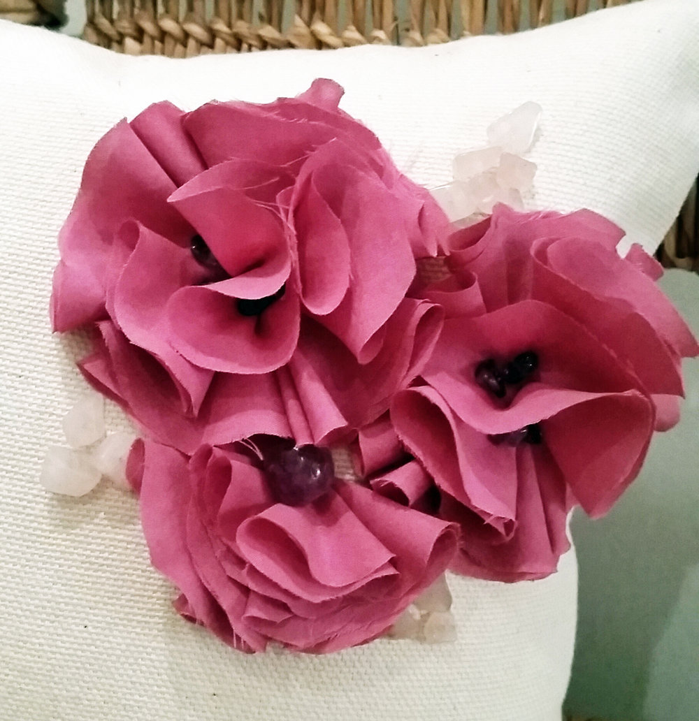 hand dyed and made silk flowers with Amethyst and rose quarts to bring love and calmness to your room.