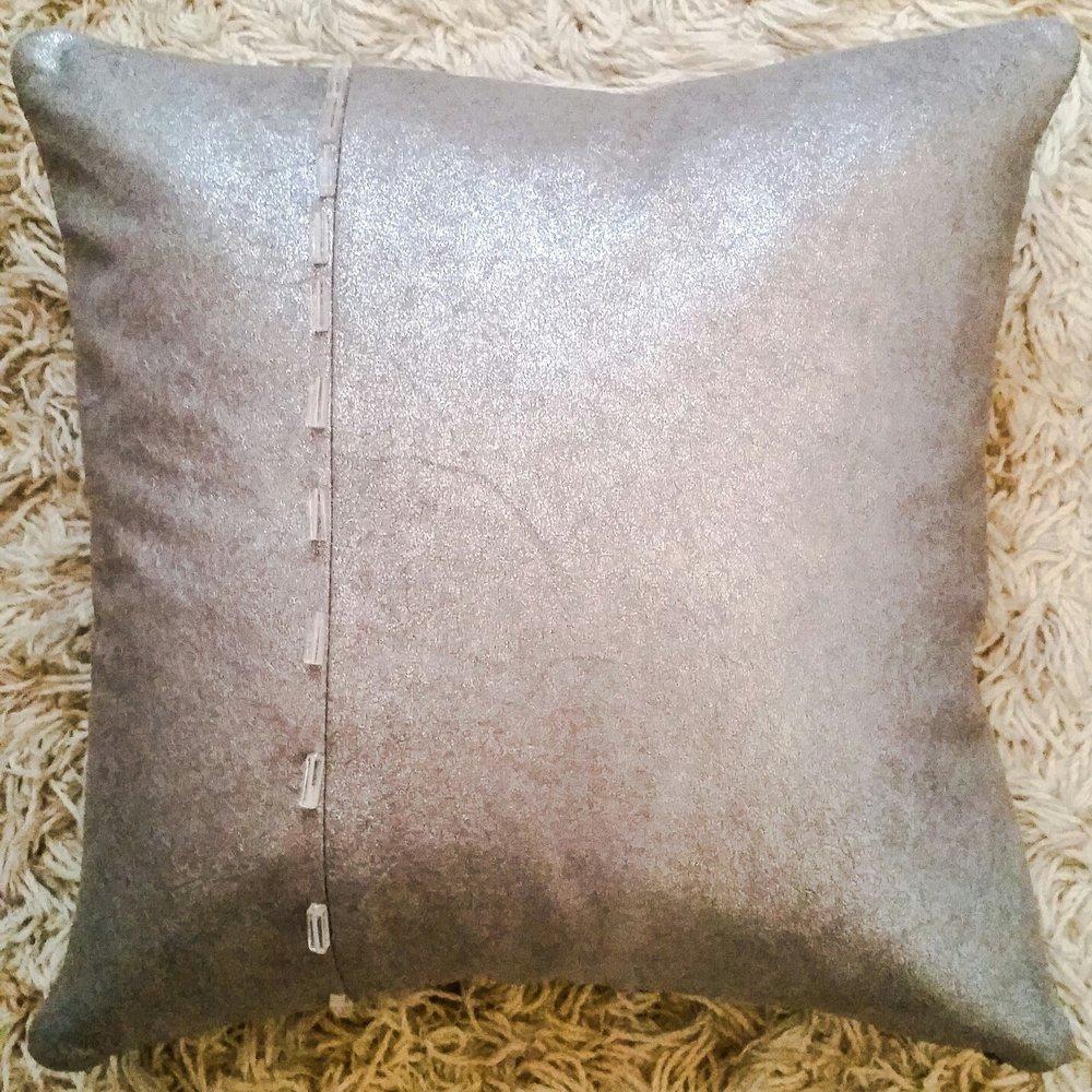 Metallic Grey pillow with rectangle pieces of quartz