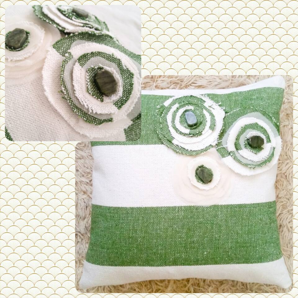 Green and white striped pillow with Jade