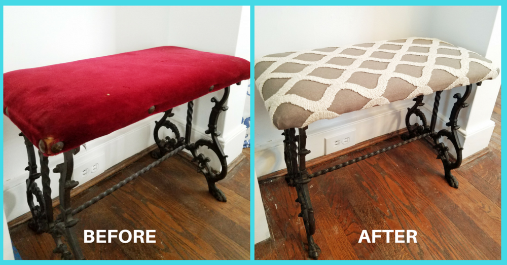 Before and After of Victorian style bench