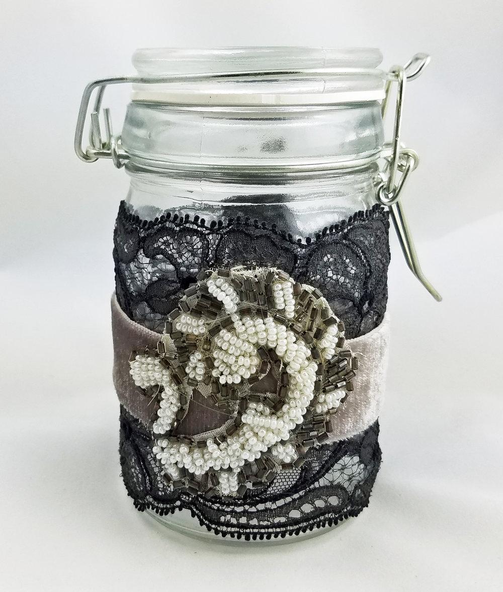 Vintage lace and applique glass jar
