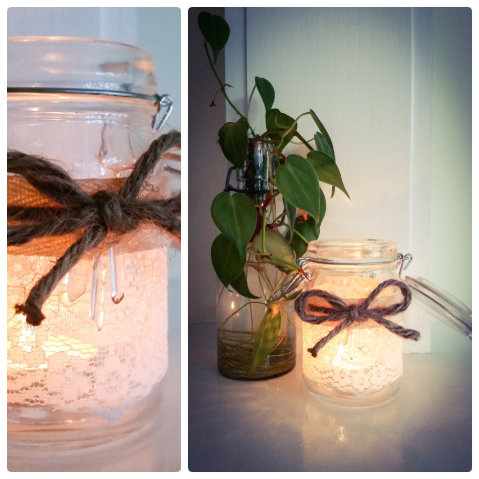 Flip lid mason jars with lace, twine, and quarts crystals.