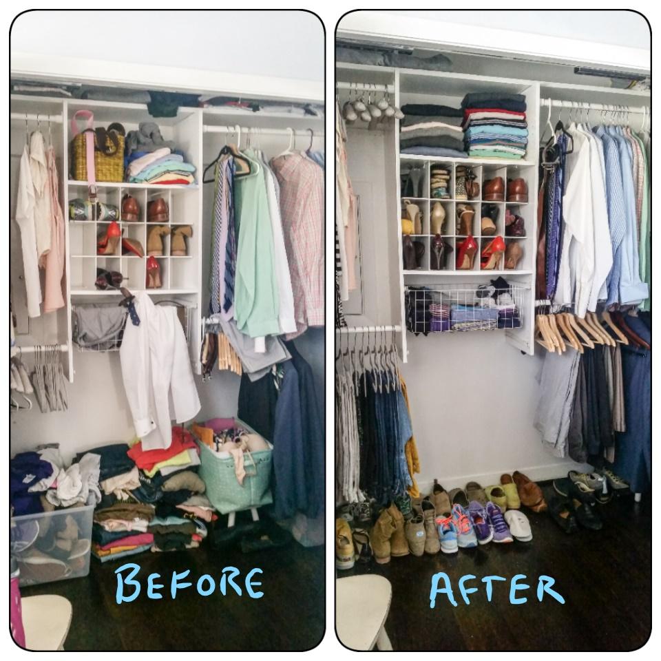 Organized combo closet