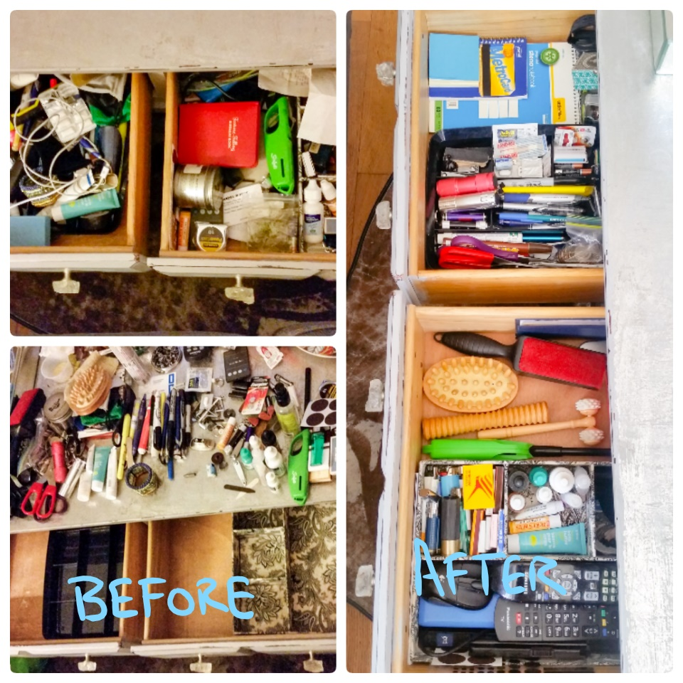 organized drawers before and after