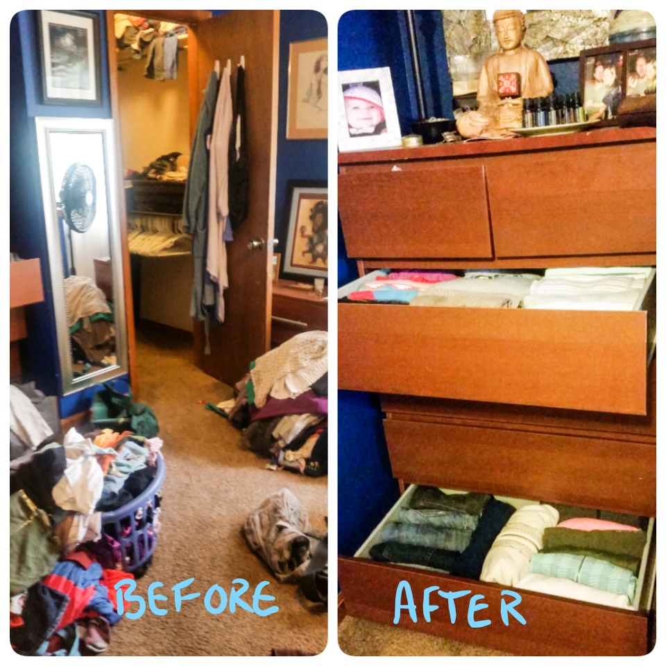 Before and After organized bedroom