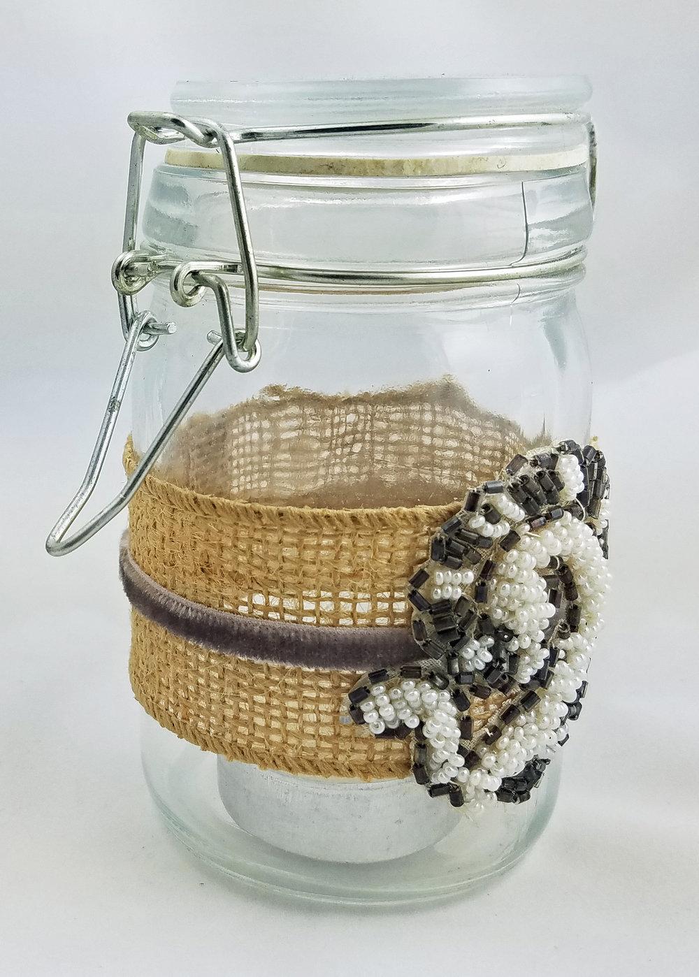 Burlap velvet and vintage applique glass jar