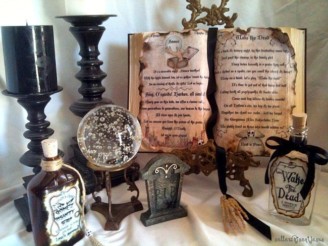 At your front entrance or on your fireplace mantel create a witches spell corner!