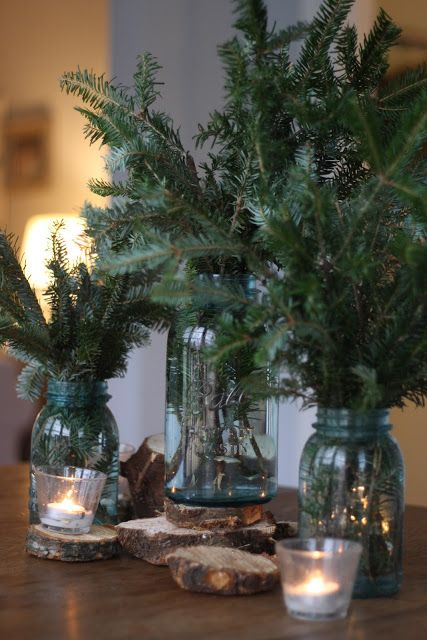 This is such a great example of using your tree clippings as decor.
