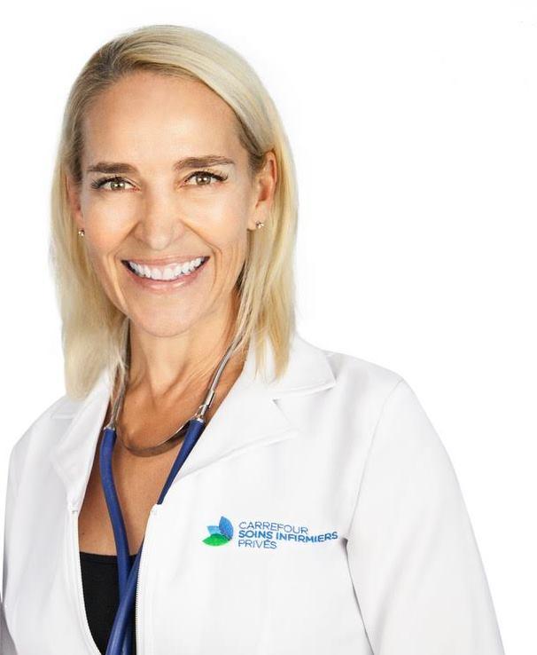 JOSÉE DELISLE, RN, B.Sc. inf., M.Sc.Infirmière propriétaire - Infirmière depuis 1988 et bachelière de la Faculté des sciences infirmières de l'Université de Montréal depuis 2005. Obtention d'une maîtrise ès sciences en 2007 à la Faculté de médecine de l'Université McGill en chirurgie expérimentale. Je possède une vaste expérience dans un certain nombre de domaines cliniques, dont les soins d'urgence ainsi que les soins intensifs et périopératoires. J'ai contribué au développement de nombreux programmes d'accessibilité et d'amélioration de la qualité des soins en centre hospitalier.Voilà ce qui me conduit aujourd'hui à vous offrir divers soins de santé de qualité adaptés à l'horaire chargé de votre vie active!Votre santé me tient à cœur!