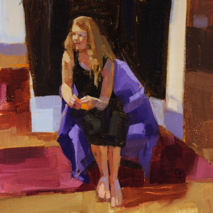 """Adjusting Heather, oil, 12"""" x 12""""  Available from  Edgewater Galley"""