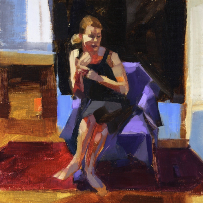 """Gesture Heather, oil, 12"""" x 12""""  Available from  Edgewater Gallery"""