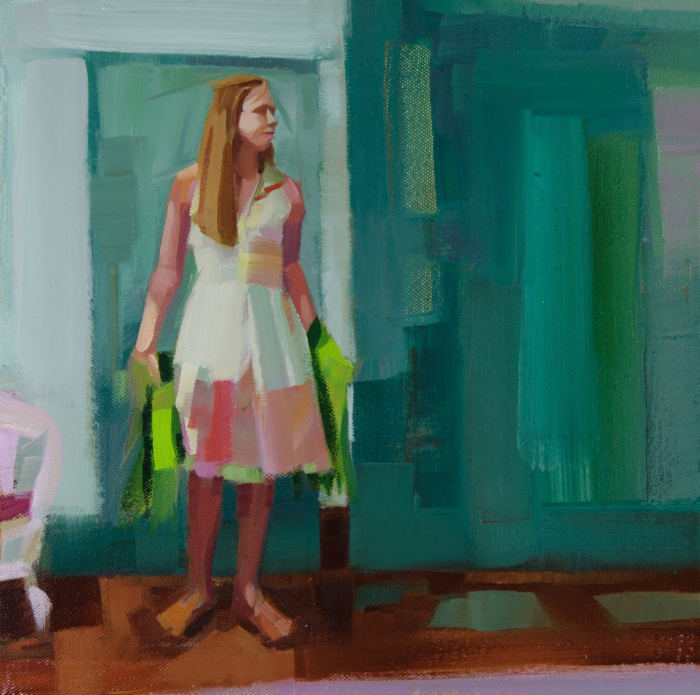 "Whence is That Knocking?, oil, 12"" x 12""  Available from  P  hilip Frey Studio"