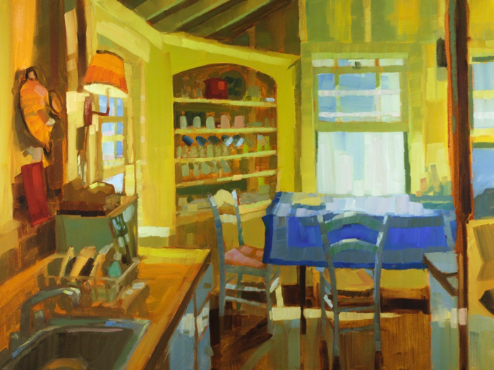 "Lunch for Two, oil, 30"" x 40""  Available from  Courthouse Gallery"