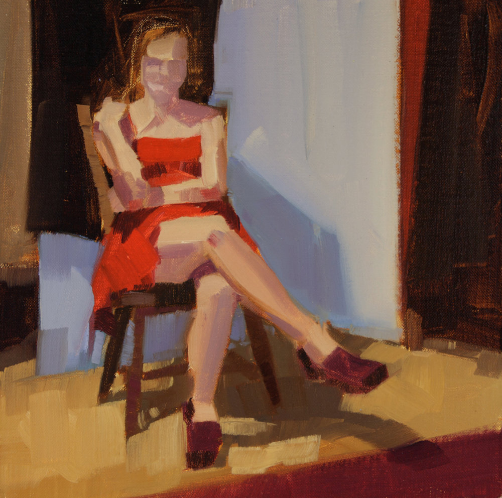 """Red Dress (Emma), oil, 12"""" x 12""""  Available from  Edgwater Gallery"""