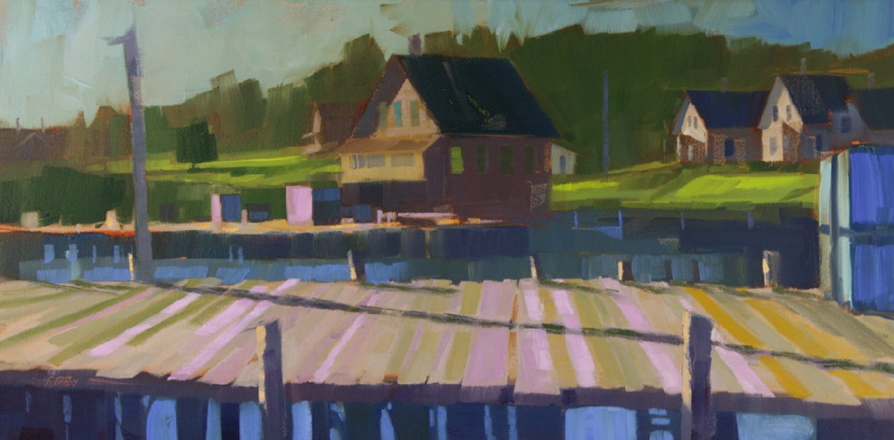 "Pink Perspective, oil, 12"" x 24""  Available from  Courthouse Gallery"