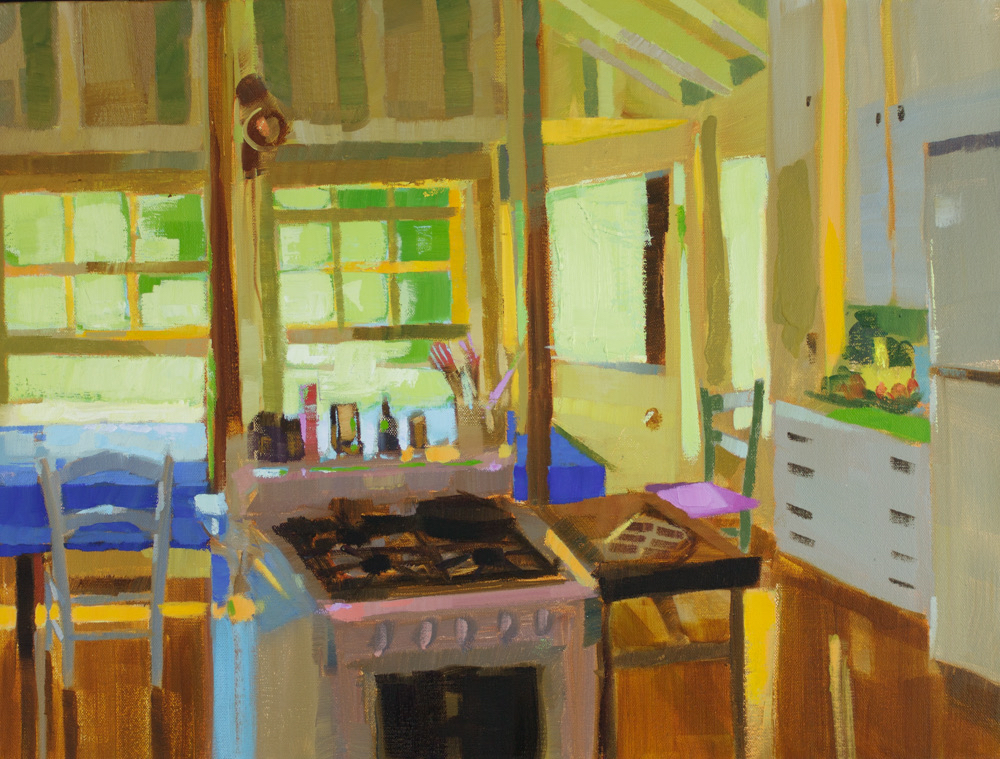 "Kitchen Prep, oil, 18"" x 24""  Available from  Courthouse Gallery"