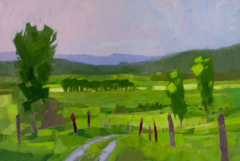 "Green on Green, oil, 24"" x 36""  Available from  Edgewater Gallery"