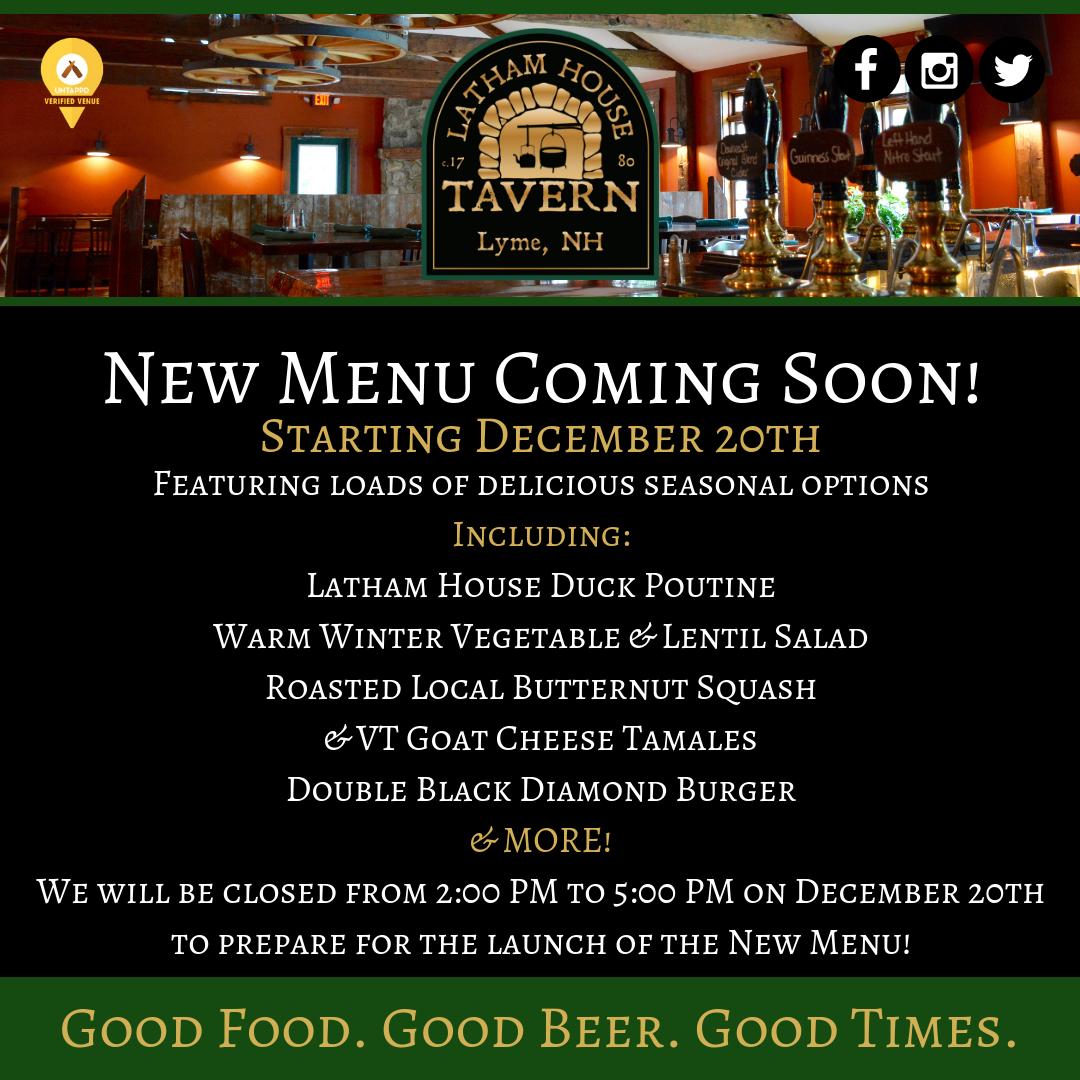 Latham House Tavern New Winter Menu Release