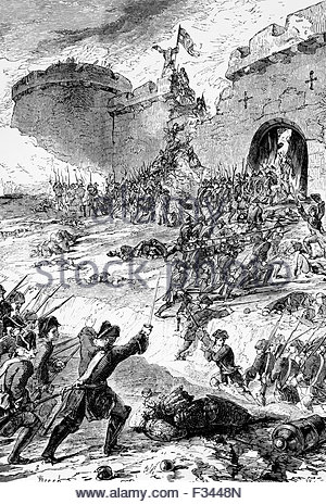 French army storming a bastion in 1747