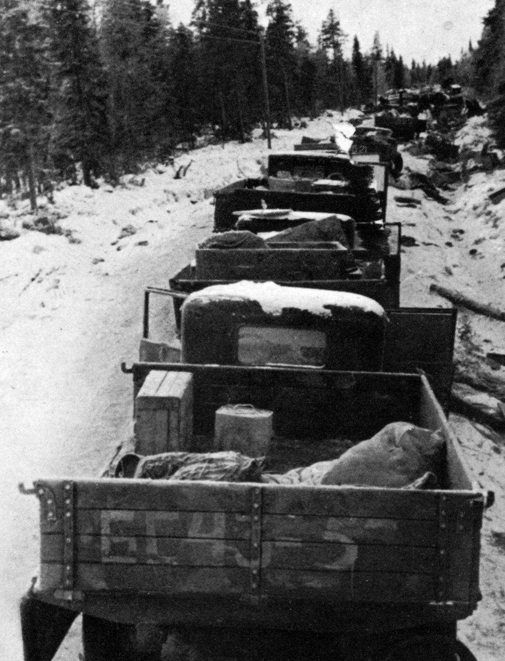 Destroyed Soviet trucks in the Winter War 1940