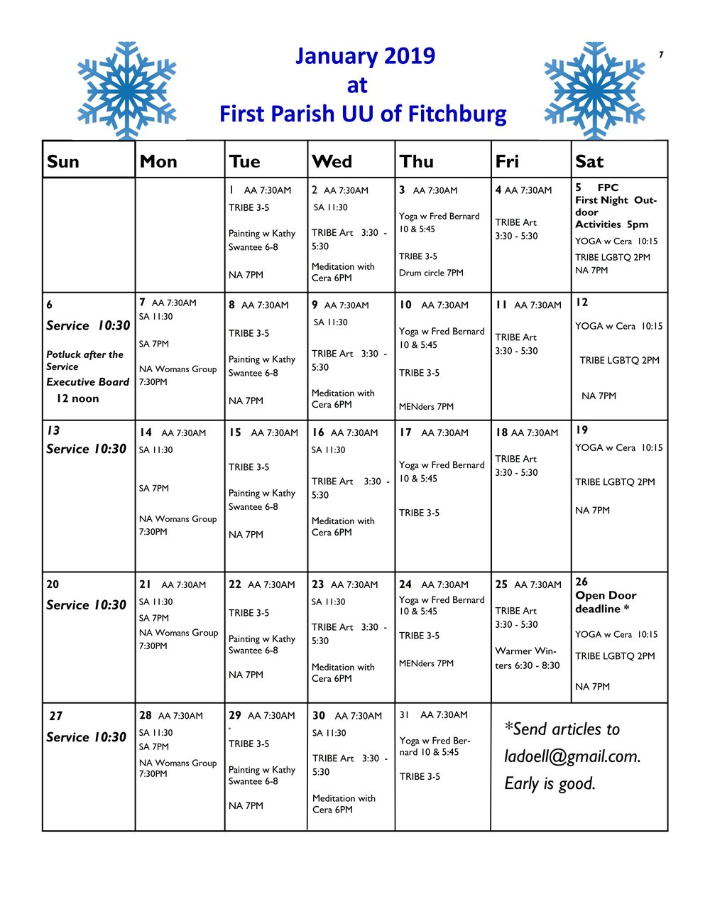 For AA & NA Meetings at the First Parish Church, 923 Main St, Fitchburg See the January schedule here:
