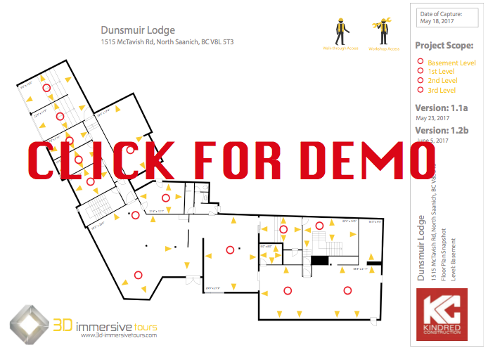 "FPS Service (fLOOR pLAN snAPSHOT) ALLOWS YOUR CONSTRUCTION TEAM TO VIEW CURRENT CONDITIONS AND JUMP INTO IMMERSIVE WALK-THROUGHS OF THE PROPERTY. Click on the above photo to demo. The yellow icons allow you to see the wall conditions and the red icons will allow you jump into the building and perform an immersive tour. You can also jump to other floors which are listed under ""project scope""."