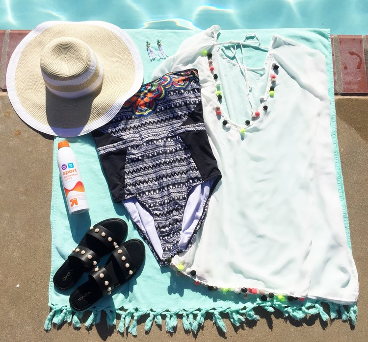 Coverup    //  Sandals  / / Bathing Suit / /  Hat  //  Earrings  //  Sunscreen  //  Sunglasses