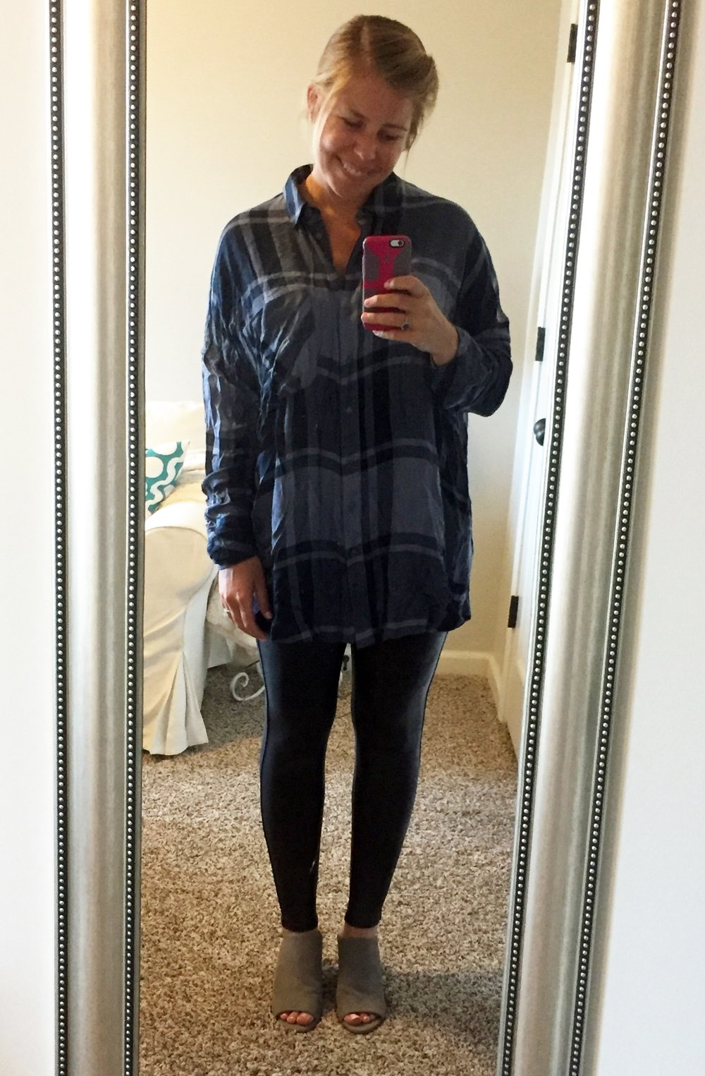 I picked up this plaid Free People tunic during the sale, but it is currently sold out. Here is a   similar plaid tunic for $31.90  . I will update this post if the Free People one I'm wearing comes back in stock. Also, if you are truly just not into faux leather, but you love Spanx, check out the    other Spanx deals    from the sale because they so rarely get marked down!