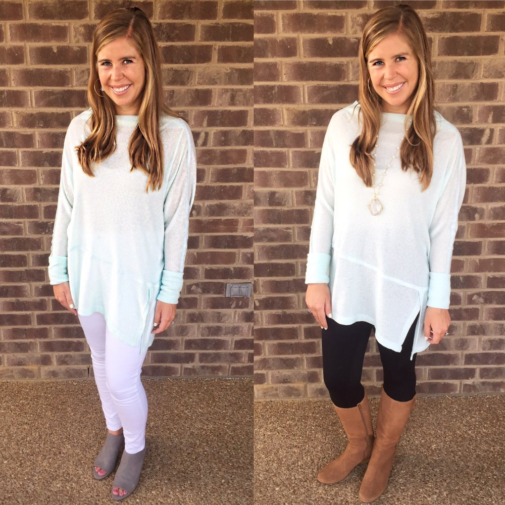 Favorite Top      //  Leggings  //  Boots  //  White jeans  //  Mules  //  Earrings