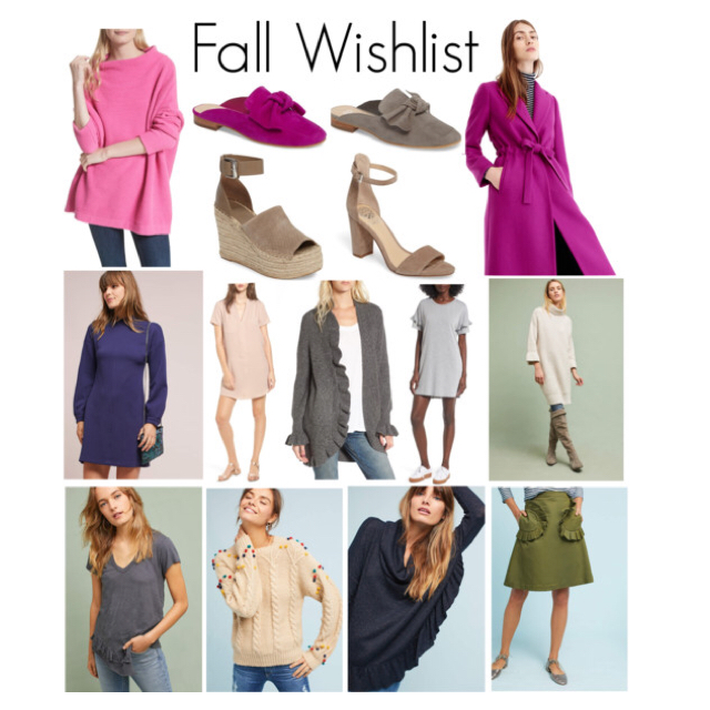 From left to right:     Pink Slouchy Tunic  //  Bow Mules  //      Platform Wedges  //      Ankle Strap Sandals  //  Bright Plum   Tiewaist Topcoat  //  Blue Mockneck Dress  //  Blush Hailey Dress  //  Ruffle Cardigan  //  Ruffle Sleeve Dress  //  Turtleneck Tunic  //  Ruffled Hem V-neck Tee  //  Pompom Cable Sweater  //  Ruffled Cowl Neck Pullover  //      Ruffled Pocket Skirt