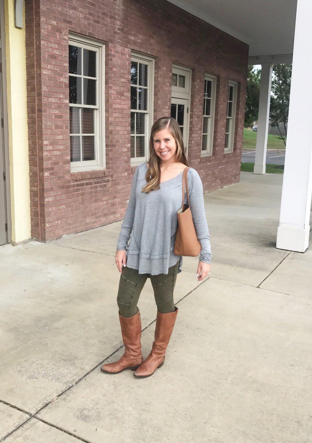 Shirt  //  Leggings  //  Boots  //  Similar Purse