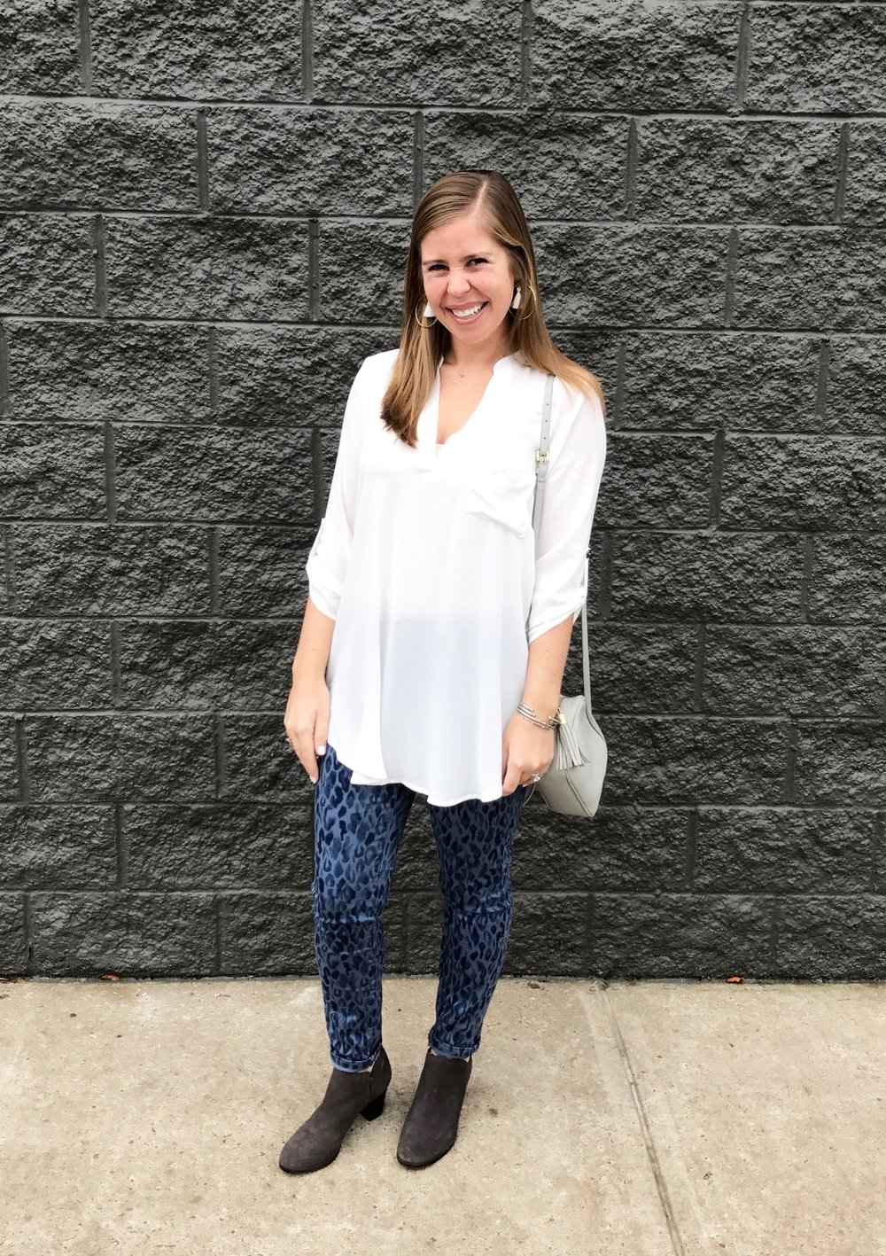 Tunic  //  Jeans  //  Booties  //  Crossbody Bag  //  Earrings