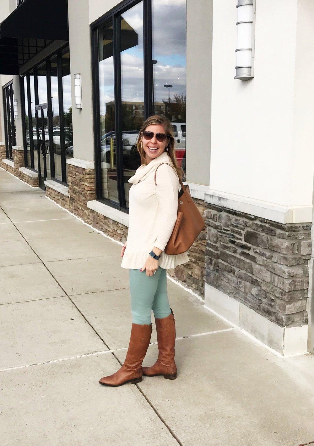 Sweater  //  Similar Jeans  //  Boots  //  Similar Handbag  //  Sunglasses