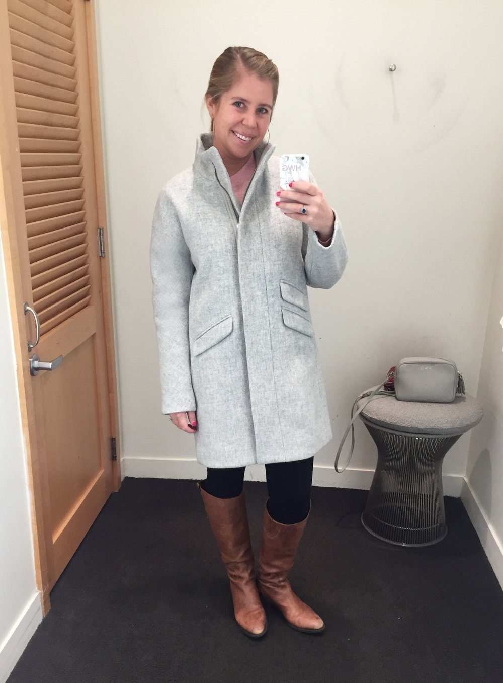 J.Crew Coat I'm Wearing  //  Similar J.Crew Factory Coat  //  Pink Sweater  //  Leggings  //  Boots   //  Crossbody Bag
