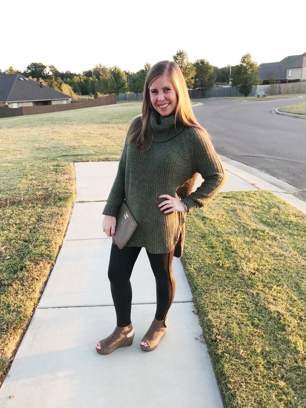 This sweater    is on sale for $25! I have it, my mom has 2 colors, I ordered one for a Christmas gift for my mother in law (she already know), and one of my mother in law's best friends got it! It is such a nice sweater for a serious deal!   //  Leggings  //  Shoes  //  Bag