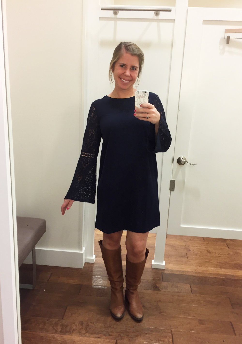 Lace Bell Sleeve Shift Dress  //  Boots