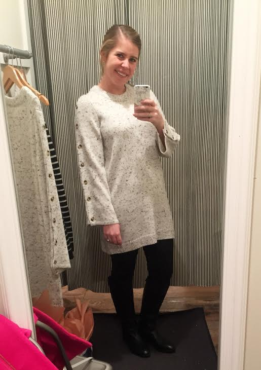 Gray Button Sleeve Sweater Dress-    This was a close runner up, but I convinced myself that I only needed one. Love this one too!