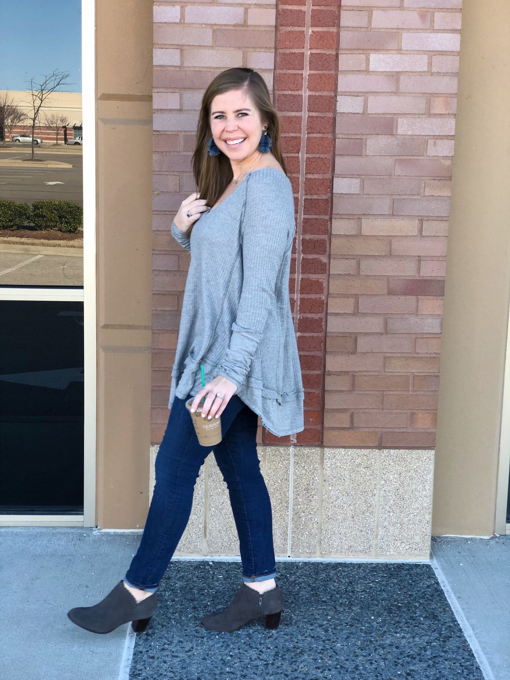 Free People Laguna Thermal  //  Jeans  //  Booties ( included in the Jack Rogers sale!) //  Earrings