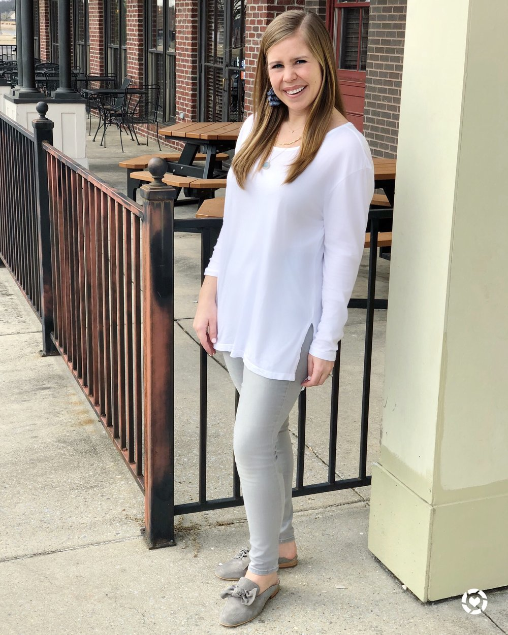 White tee ($15!)    //    Gray jeans    //    Bow mules    //    Earrings