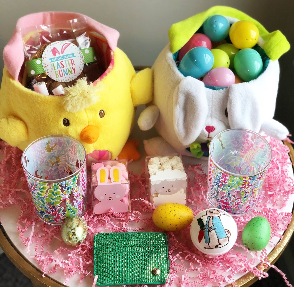 Use code  HALEY10  for 10% off and code  FREE  for free shipping!    Card Holder    //    Lilly Pulitzer Glass Set    //    Hand Painted Bath Bomb    //    Sugarfina Candy ,  Pink Bunny Tails    //    Easter Cookies