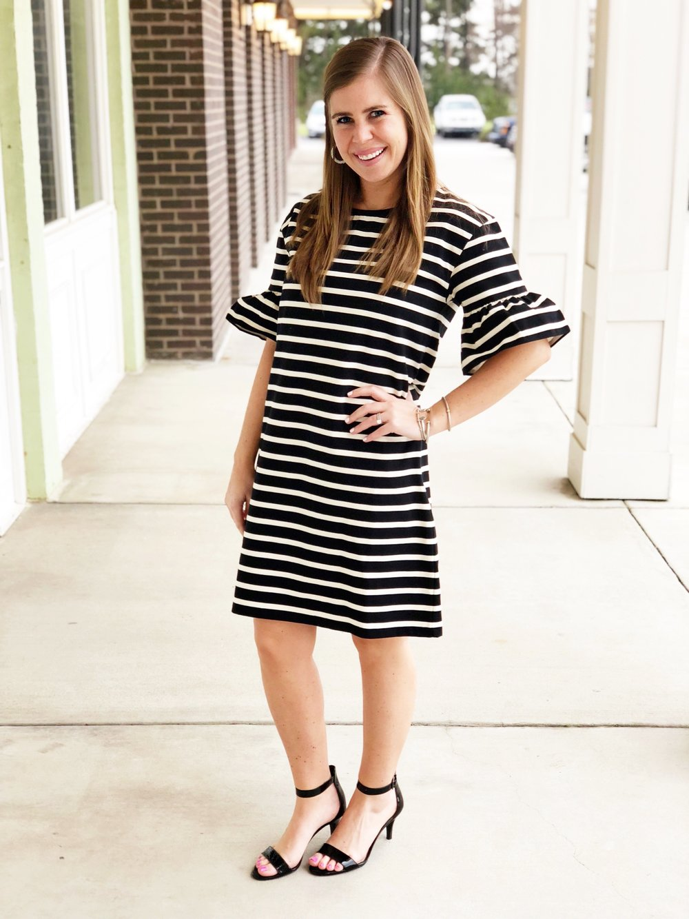 Ruffle Sleeve Dress    (runs big, size down)