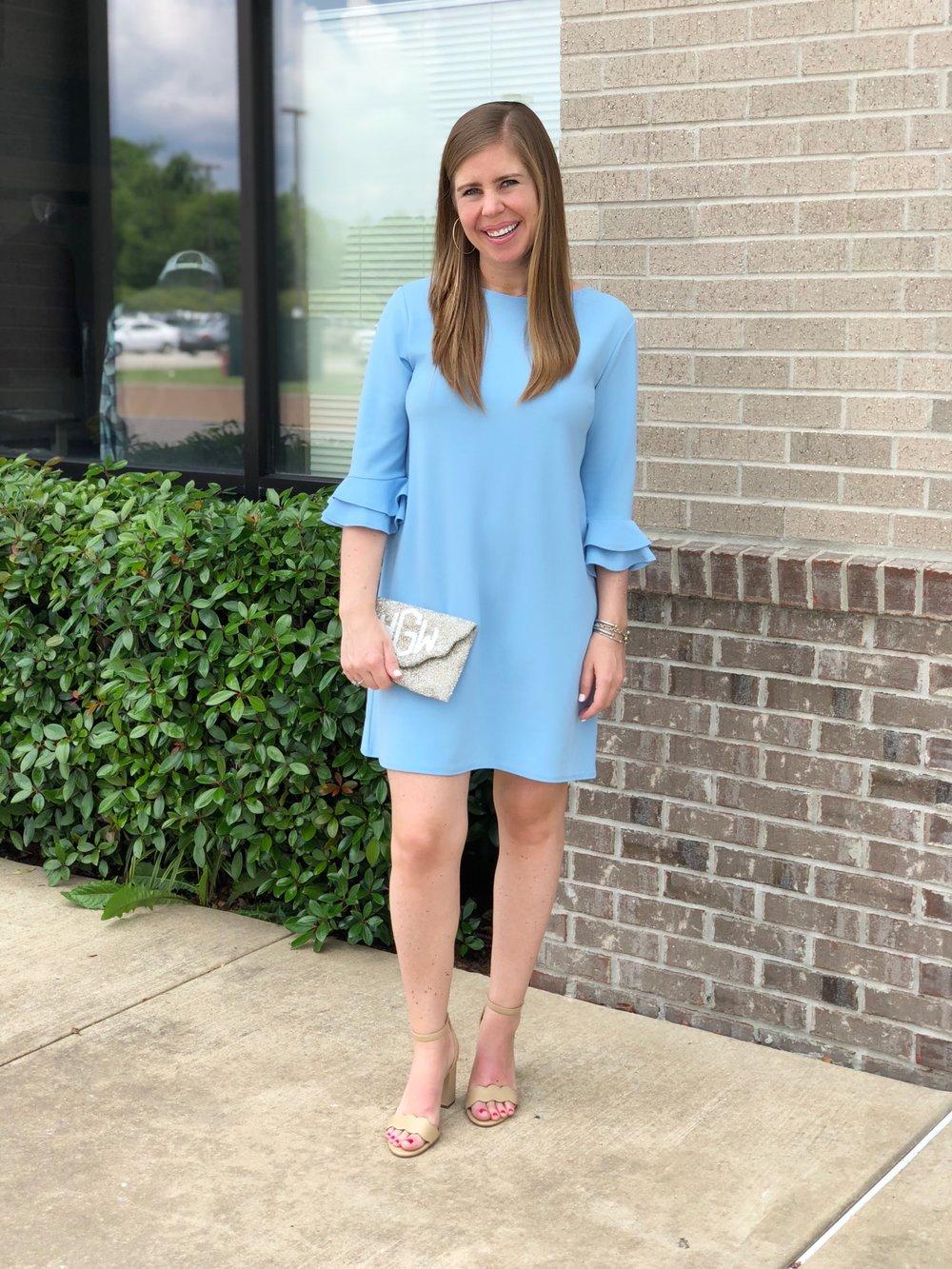 Dress  |  Heels |  Monogrammed Clutch