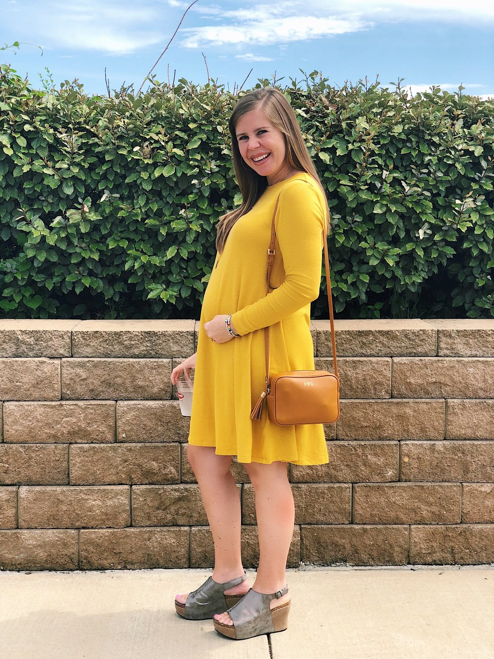 Golden Plush-Knit Swing Dress      //      Hester Wedges