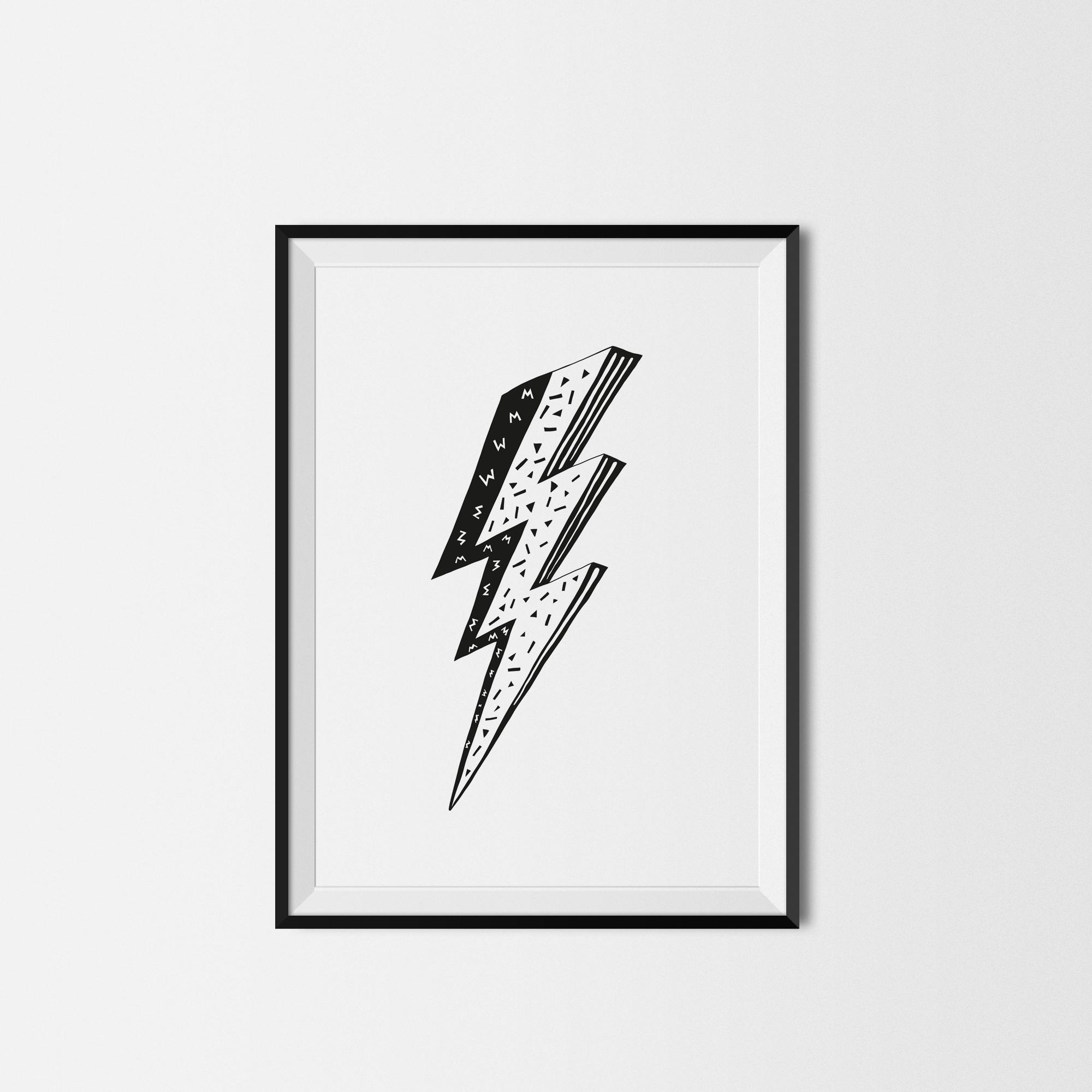 lightning bolt kids print u2014 little print shop