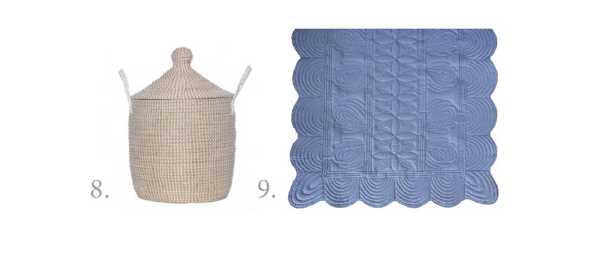 8. Olli Ella lidded basket, $115 (medium);  www.olliella.com.au . 9. Bonne Mere single bedspread quilt, $189 (comes in a set with pillow);  www.bonnemere.com.au .