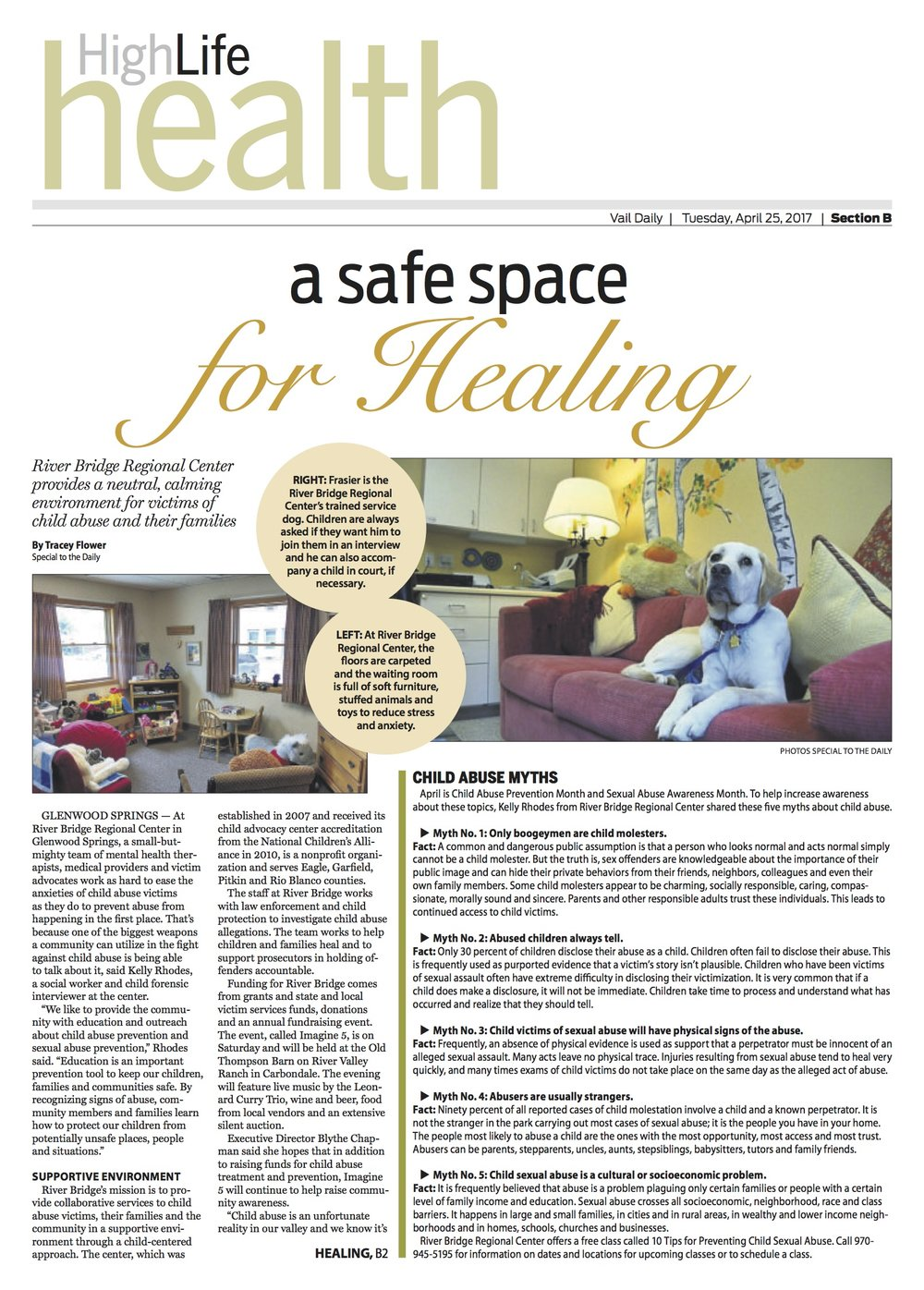 A safe space for healing   // Vail Daily // April 25, 2017