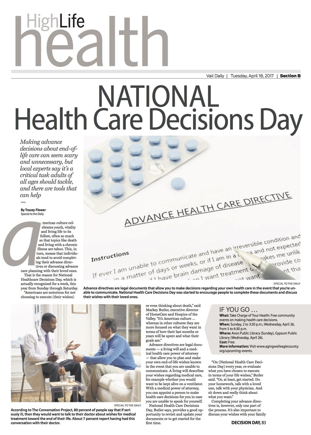 National Health Care Decisions Day   // Vail Daily // April 18, 2017