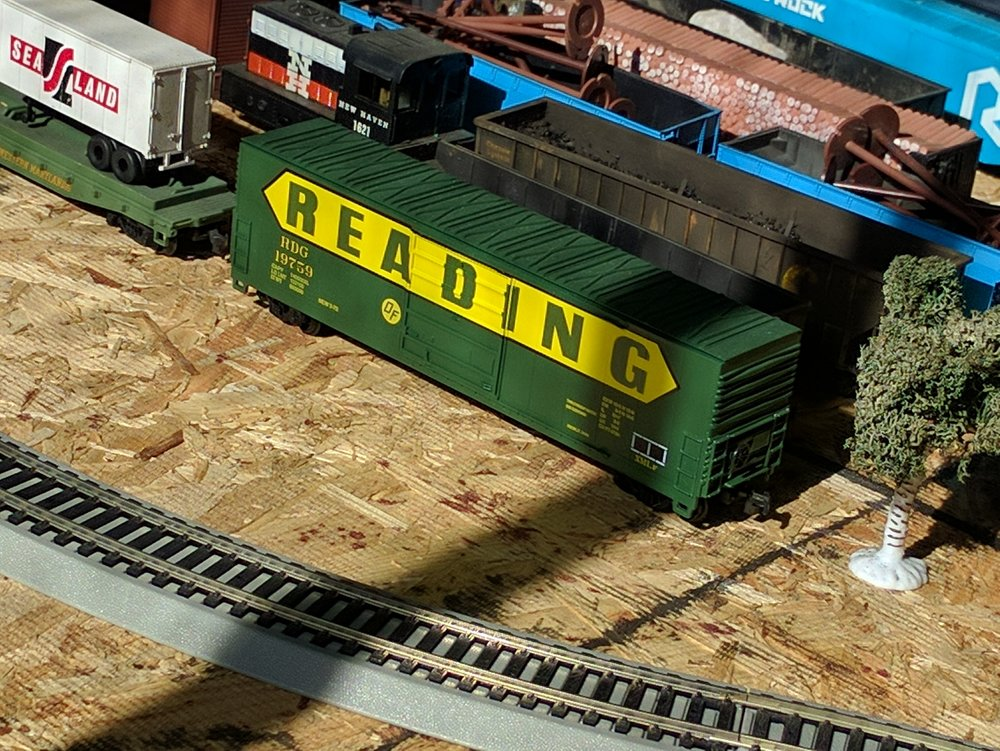 A Reading Boxcar patiently waits for me to finish completing my new railroad.