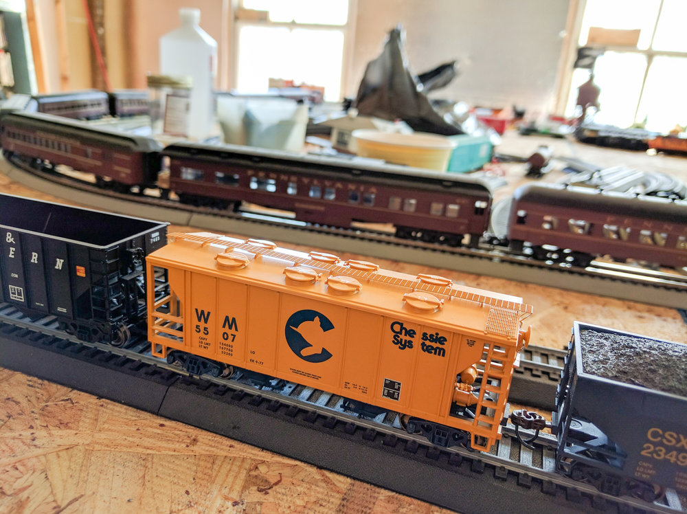 This is one of my favorites. A Chessie Closed Hopper by Athearn, around 10 years old.