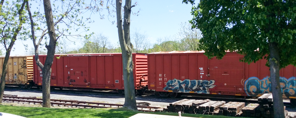 Boxcars in the CSX yard in Hagerstown. To the right, is EEC 6071, which belongs to the East Erie Commercial Railroad. Their roster contained well over 2000 of these units.